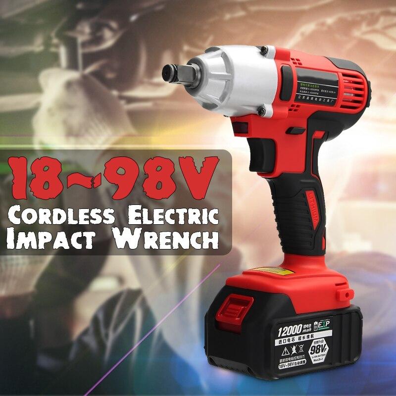 AC 100-240 v 400Nm Elettrico Impact Wrench 12000 mah Batterie Agli Ioni di Litio Cordless Impact Wrench 2 1 strumento di Potere del caricatore