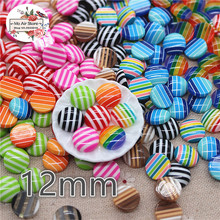 50pcs 12mm mix color stripe round Buttons bead Home Garden Crafts Cabochon Scrapbooking craft