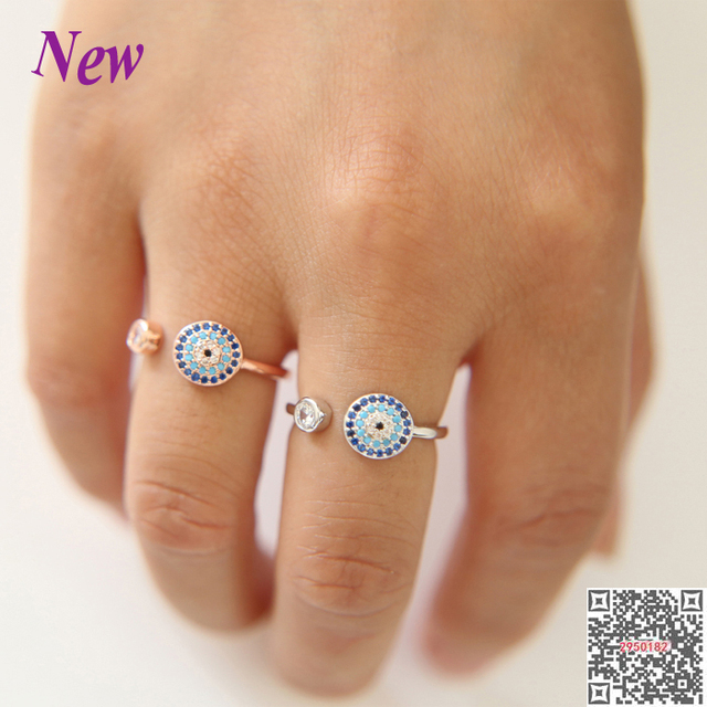 cf7f6729896a5 US $6.99 |rose gold Evil eye open Rings with blue black mixed cz new  jewelry Luxury adjustable ring cubic zircon turkish women Ring jewelr-in  Wedding ...