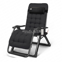 High Back Reclining Office Napping Chair Lounge Chair Portable Folding Armchair Outdoor Patio Deck Beach Chaise with Pillow