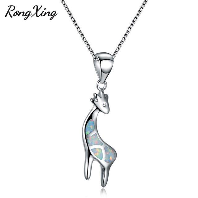 Rongxing whiteblue fire opal giraffe pendants necklaces for women rongxing whiteblue fire opal giraffe pendants necklaces for women fashion 925 sterling silver black aloadofball Image collections