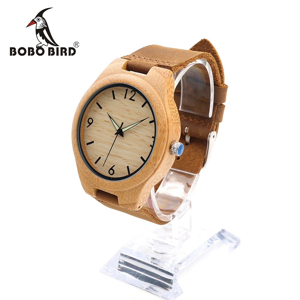BOBO BIRD RT0431 Mens Brand Luxury Wooden Bamboo Watches With Night Light Pointer Real Leather Quartz Watch Unisex in Gift Box