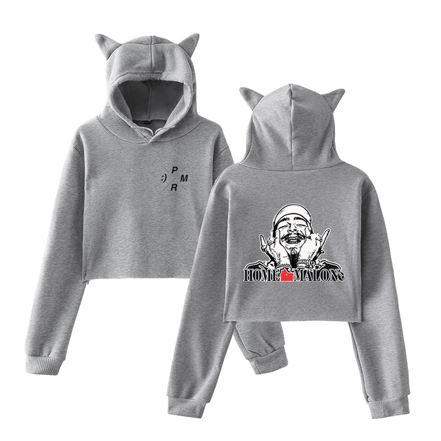 POST MALONE CROP TOP EAR Hoodie (20 VARIAN)