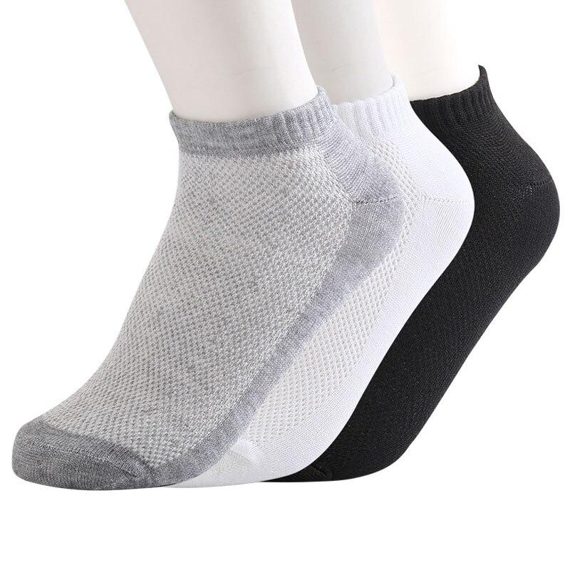 3 Pairs Summer Breathable Mesh Socks Men Casual Low Cut Ankle Socks Lot Black Grey White Socks For Male Meias Mesh Thin Breatha