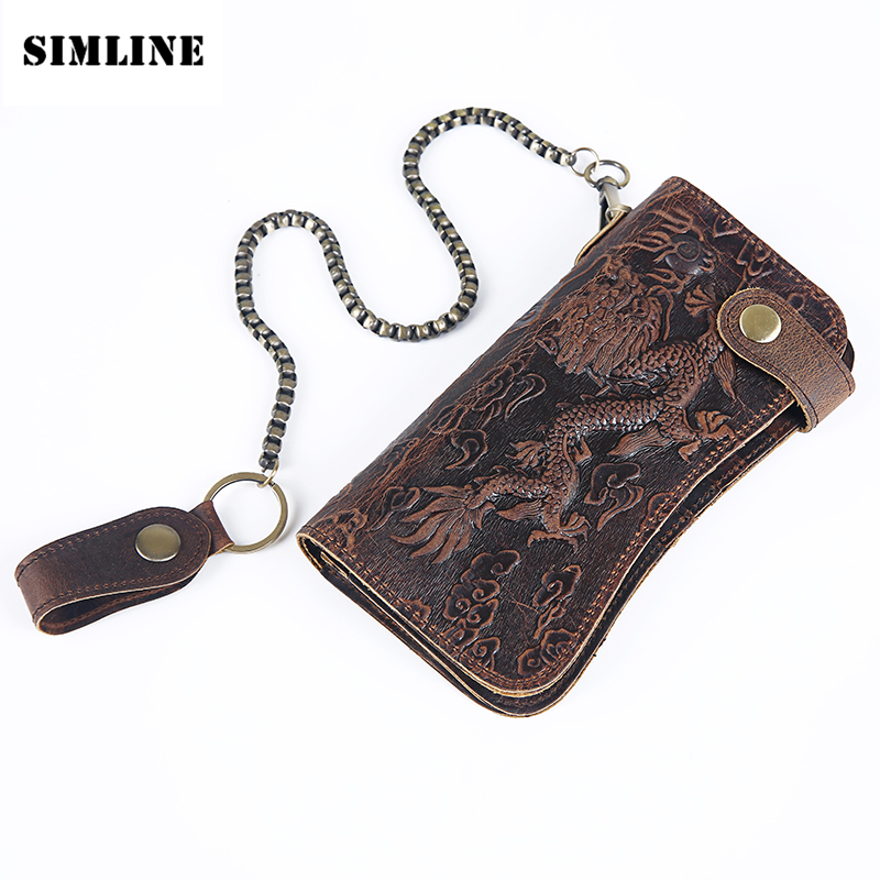 SIMLINE Genuine Leather Wallet Men Men's Long Vintage Cowhide Clutch Wallets Purse Card Holder Zipper Coin Pocket Chain 3D Male brand handmade genuine vegetable tanned leather cowhide men wowen long wallet wallets purse card holder clutch bag coin pocket page 4