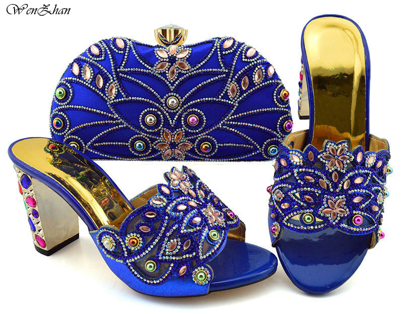 Hot selling Royalblue Shoes and Bag Matching Italian Shoes and Bag Set Decorated with Rhinestone Designer Shoes 9cm B94-5Hot selling Royalblue Shoes and Bag Matching Italian Shoes and Bag Set Decorated with Rhinestone Designer Shoes 9cm B94-5