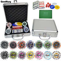 100,200,300,400,500PCS/Set New Casino Texas Hold\'em ABS Poker Chips With Star Trim Sticker Poker Chip Set with Aluminum Box