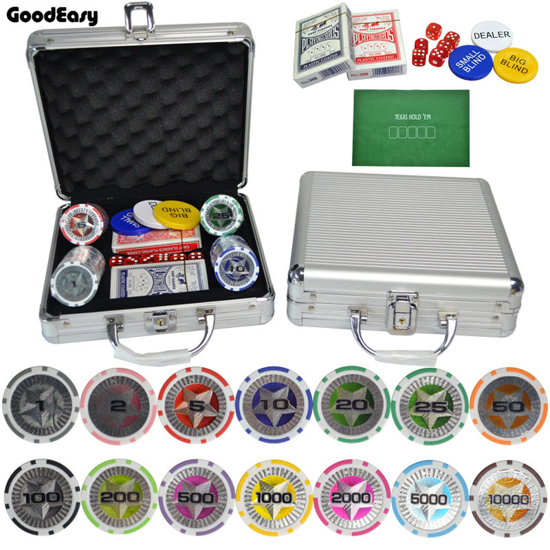 100,200,300,400,500PCS/Set New Casino Texas Holdem ABS Poker Chips With Star Trim Sticker Poker Chip Set with Aluminum Box