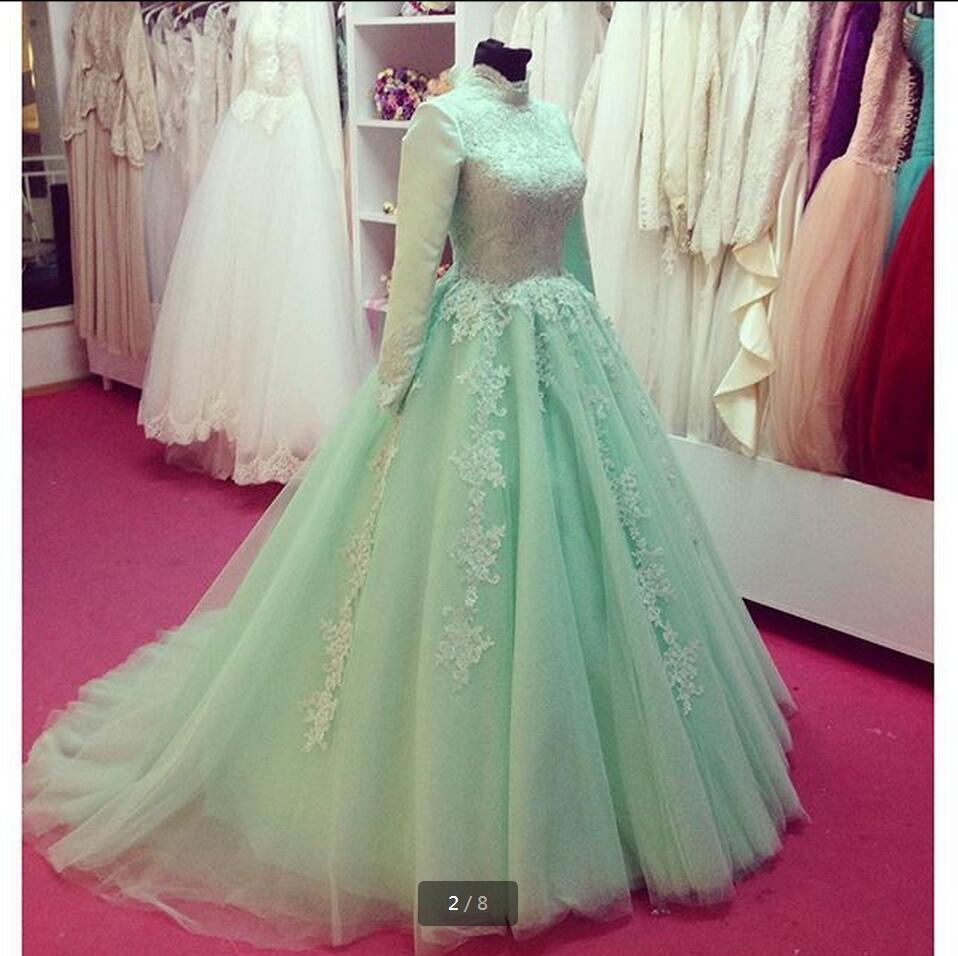 New arrival Ball Gown   Prom     Dresses   2017 lace appliques beading sequins formal   prom   gowns high neck modest   prom     dress
