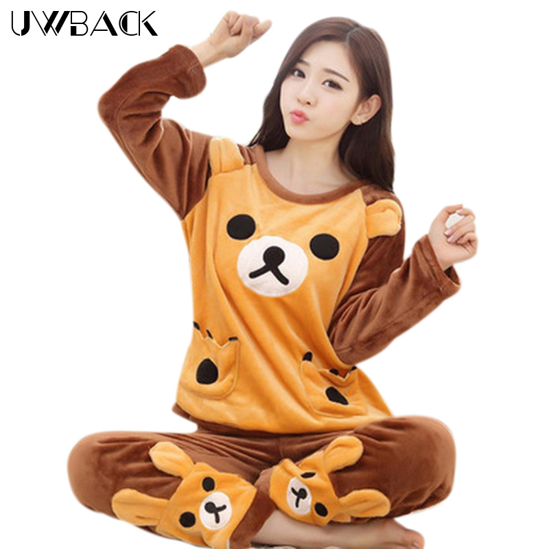 Uwback 2017 Winter Brand   Pajamas     Sets   For Women Floral Plush Flannel Sleepwear Femme Animal Coral Fleece Kigurumi Mujer EB415