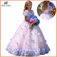 princess fluffy dress for girls pageant dress floral kids evening ball gown long girls prom dress pink party dress for girls