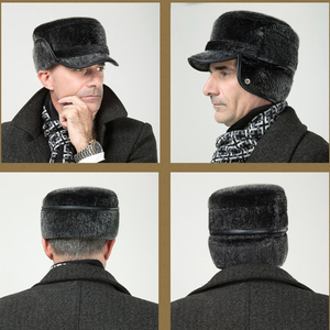 Image 3 - Winter Thicken Flat Top Bomber Hats Men Top Quality Russian Snow Hat with Earflaps Retro Faux Fur Warm Outdoor Bonnet for Men