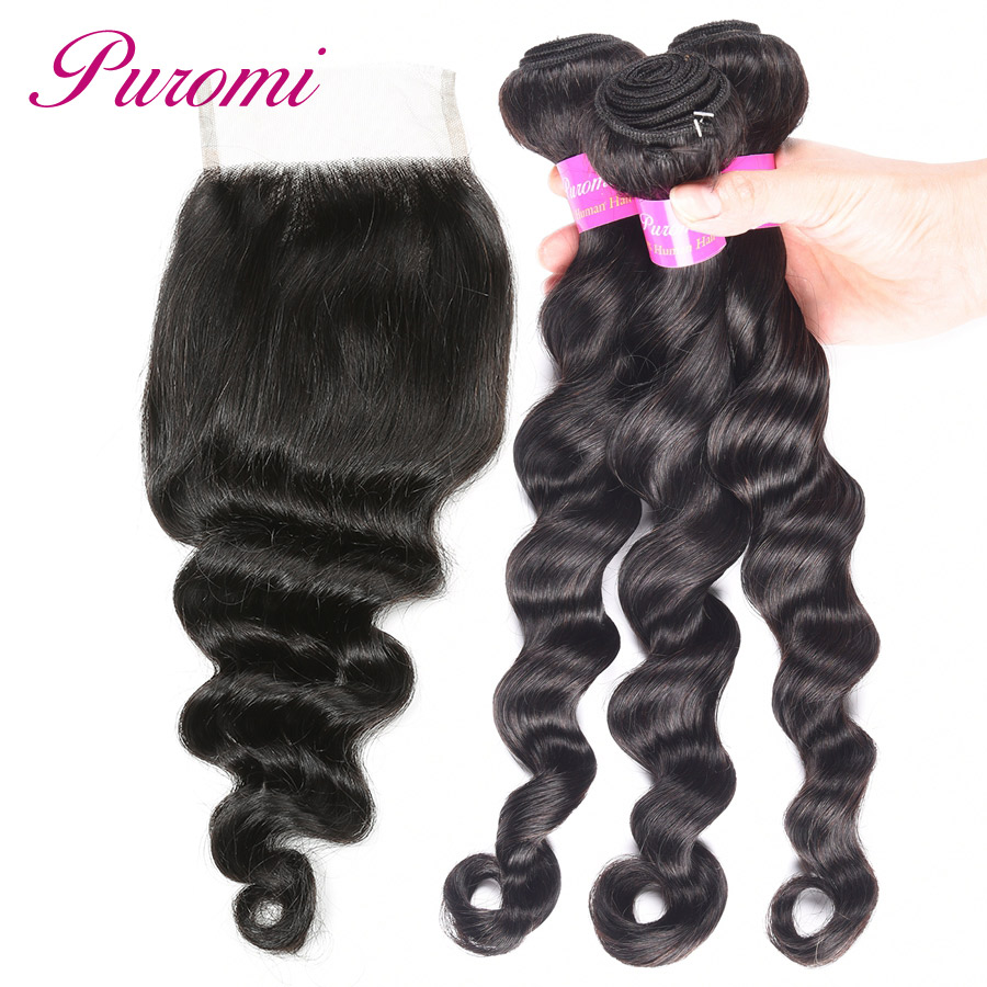 Puromi Hair Brazilian Loose Deep Wave Bundles With Closure 4*4 Free Part 3 Bundles With Closure 1b# Non Remy Loose Wave Bundles