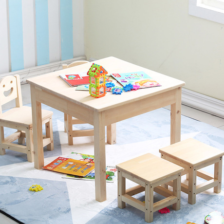 Children Furniture Sets 1 Desk 2 Chairs Stools Solid Wood Kids Ottomans And Study Table In