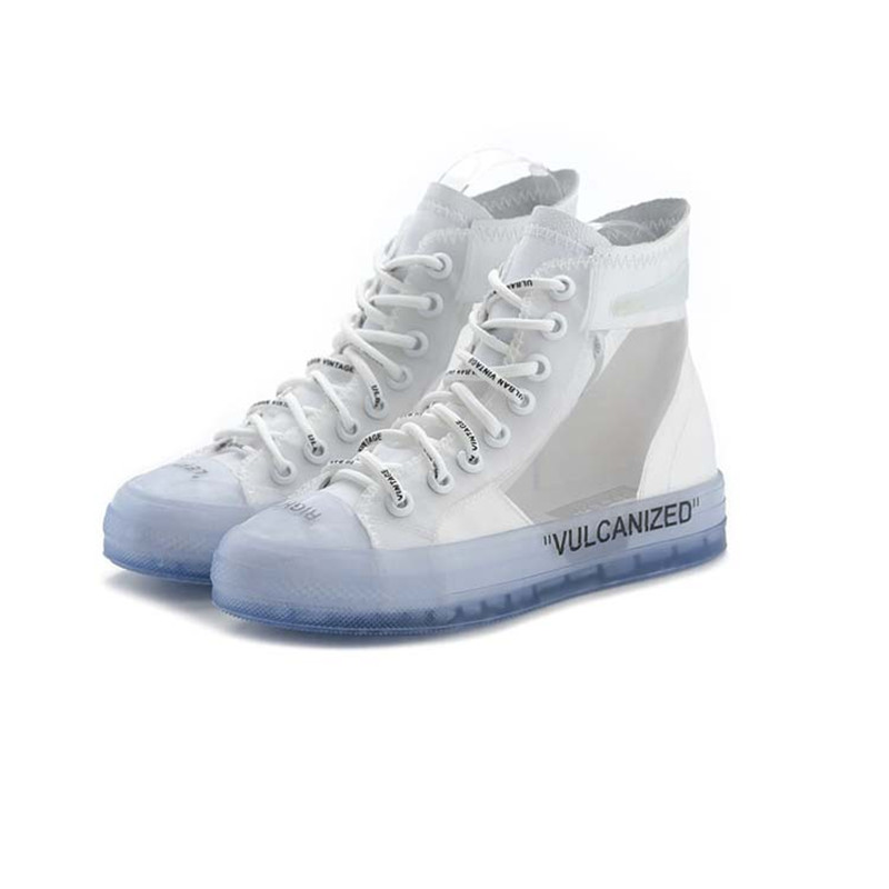 f8c4e3c1dd80 2018 New Trending Style Spring And Summer With White Shoes Women Flat  Leather Canvas High Tops Transparent Casual Shoes Female-in Women s Flats  from Shoes ...