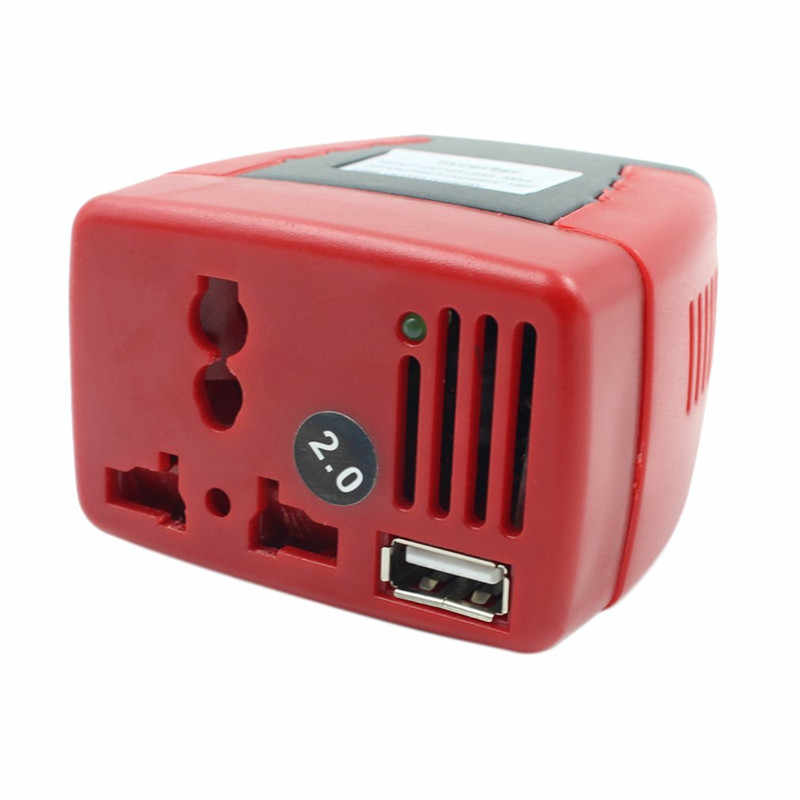 Red Auto Car Charger 12V DC To 110V AC USB Output 5V 0.5A Cigarette Lighter Power Supply 150W Car Power Inverter Car Accessories