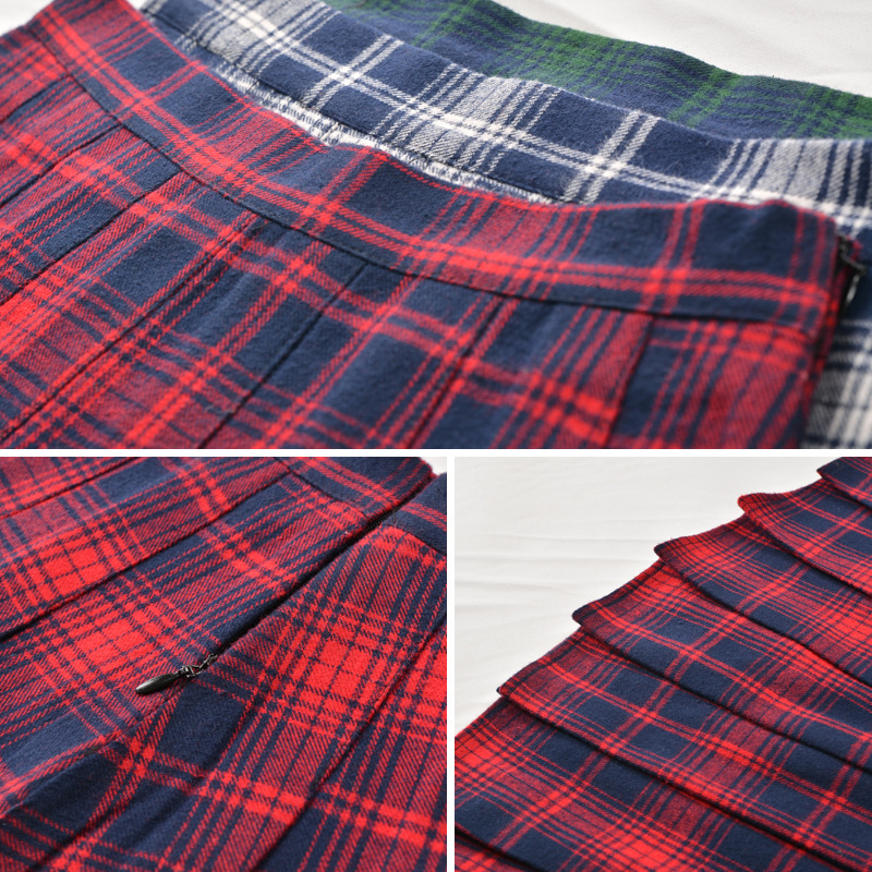 2019 new red plaid skirt female autumn and winter short skirt Scottish high waist Slim student casual wild pleated skirt XS 3XL in Skirts from Women 39 s Clothing