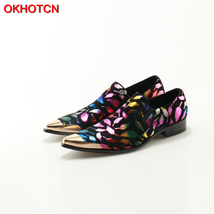 OKHOTCN Shoes Man Pointed Metal Toe Colorful Feather Print Shallow Cozy Flats Slip On Men Casual Shoes Designer Man Dress Shoes цена 2017