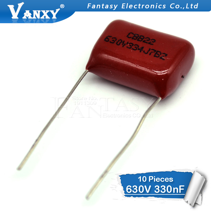 10PCS 630V334J  0.33UF Pitch 15MM 630V 334 330NF CBB Polypropylene Film Capacitor