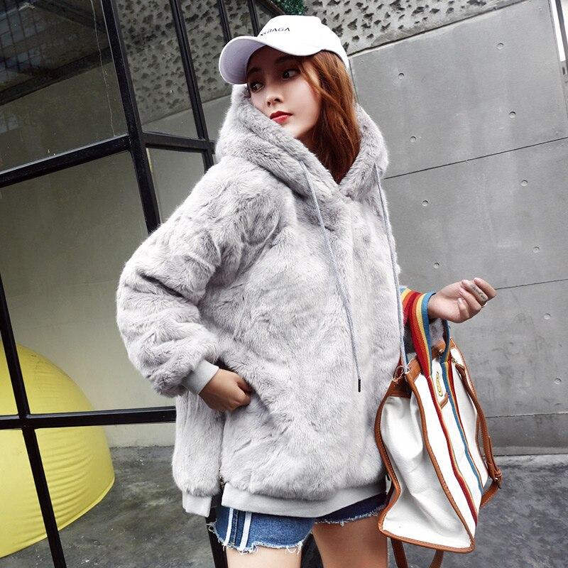 Faux Fur ขนปุย Hoodie ฤดูใบไม้ร่วงฤดูหนาวผู้หญิง Hoodies เสื้อแขนยาวสีเทาสตรี Hoodies เสื้อกันหนาว Thicken Coat-ใน เสื้อฮู้ดและเสื้อกันหนาว จาก เสื้อผ้าสตรี บน   1