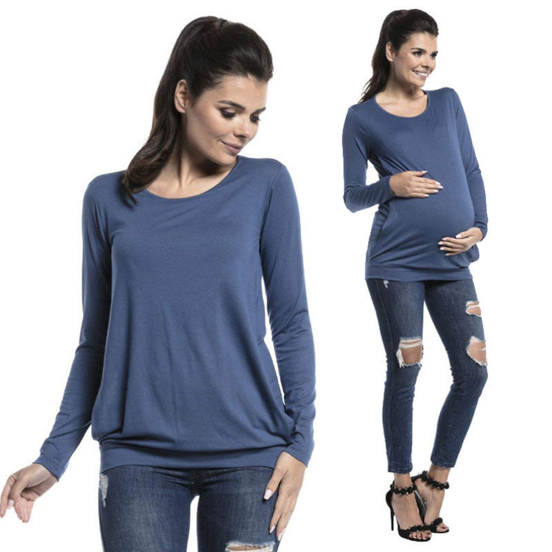 f0e809bfe New Long Sleeve Women Pregnant Maternity Clothes Nursing Tops Breastfeeding  Casual Tee Solid T-Shirt Blouse Size 2019