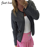 2016 Female Outwear Black White Plus Size Spring Autumn Plaid Women Thin Coats Short Jackets Casual