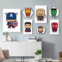 WANGART Cartoon Superhero Batman Iron Man Spiderman Canvas Painting Poster Print Children Room Art Picture Wall Art Home Decor
