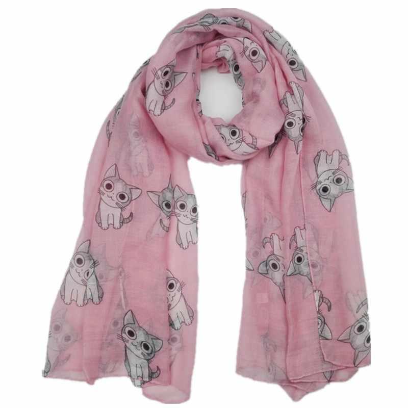 2018 Мода Прекрасный животных милый кот узор вискоза шаль шарф леди дети обёрточная бумага новорожденных Echarpe Foulards мусульманский хиджаб платок для головы Sjaal