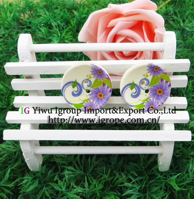 20PCS 30MM purple flower painting wooden buttons sewing clothes boots coat accessories MCB-605