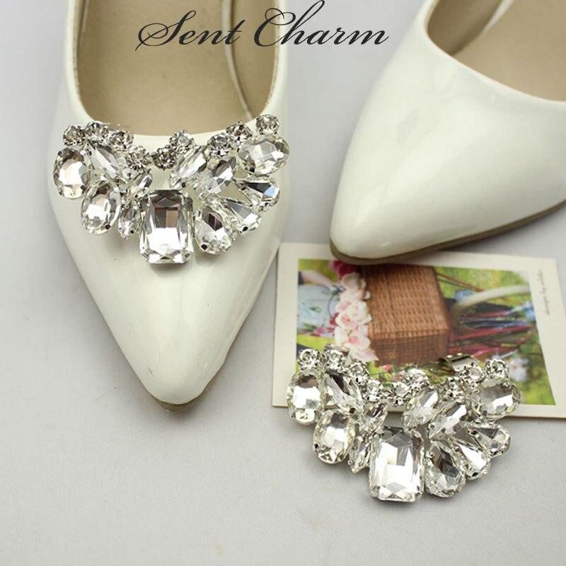 1 Paar Kristall Strass Hochzeit Mit Schuh Clips Charme Schuh Dekoration Elegante Schuhe Zubehör Für High Heels Blut NäHren Und Geist Einstellen