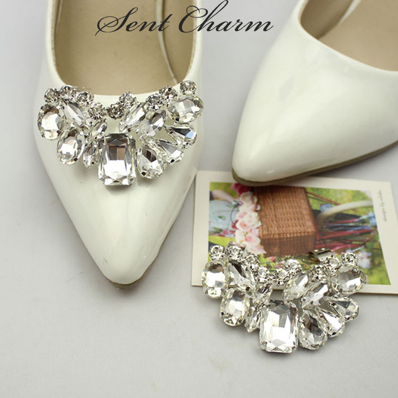 8cd4682fa 1Pair Rhinestone Wedding Crystal with Shoe Clips Charms Shoe Decoration  Elegant Shoes Accessories For High Heels