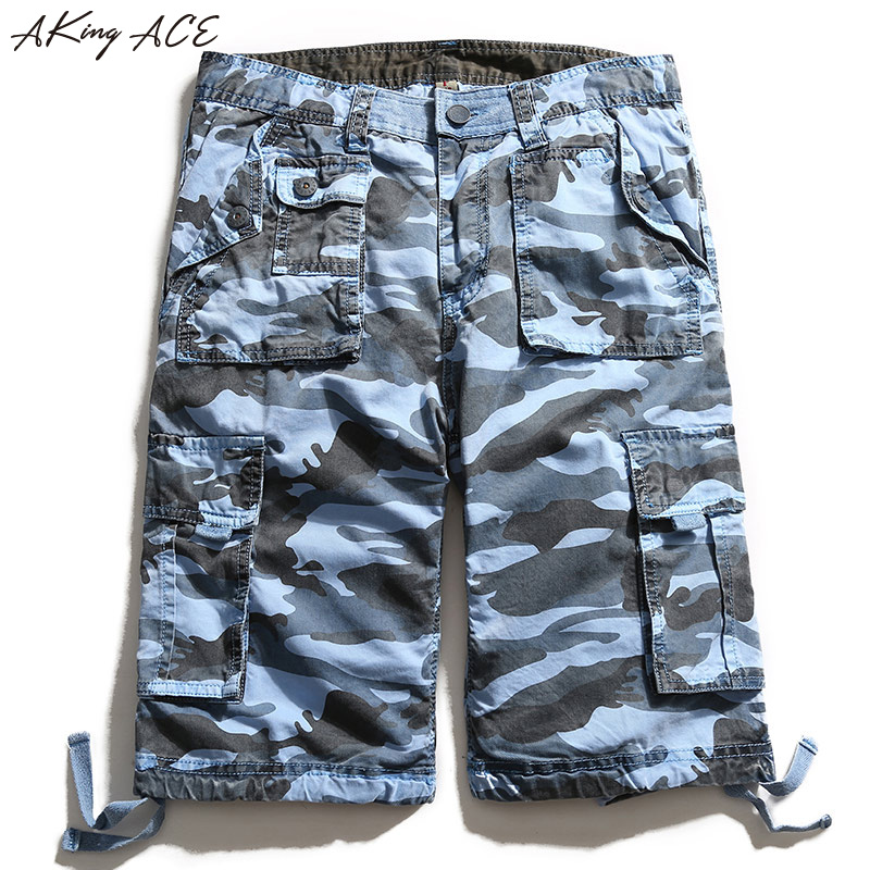 AKing ACE Blue Camouflage Cargo shorts brand for male navy army mens camo  shorts Baggy cargo harem short pants  958897561fdf