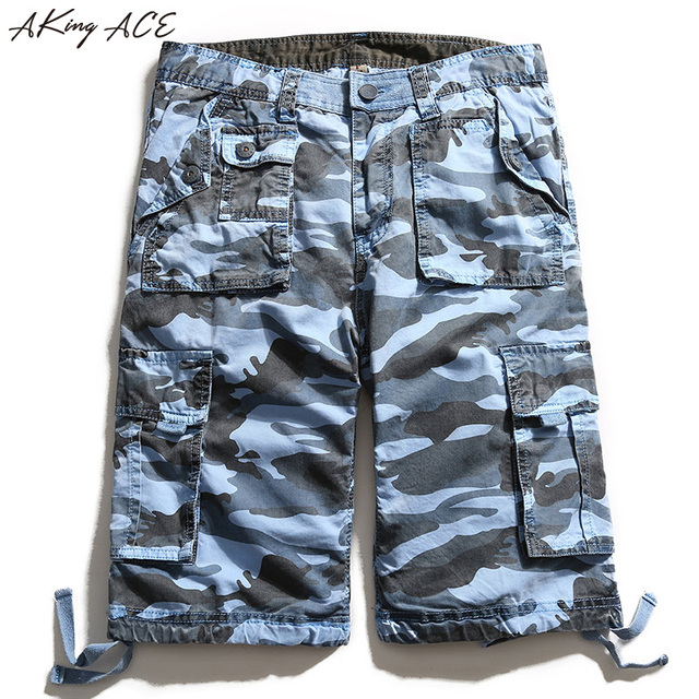 c4482e0c3c3 AKing ACE Blue Camouflage Cargo shorts brand for male navy army mens camo  shorts Baggy cargo harem short pants