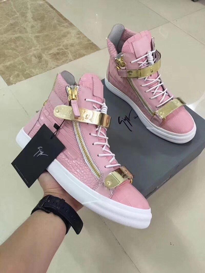 Authentique Giuseppe x zanotti design rose/or boucle peau de Crocodile GZ haute baskets femmes chaussures décontractées dame mocassins formateurs