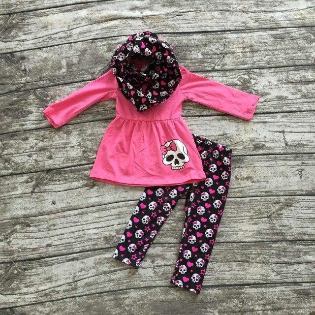 Девушки Попадают одежды 3 шт. с шарфом устанавливает Хэллоуин одежда детей Кости брюки ярко-розовый топ девушки Хэллоуин брюки наборы