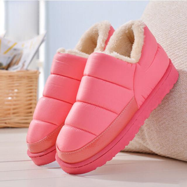 2016 novas botas de inverno botas de mulheres à prova d' água cores sólidas unisex botas de neve de inverno plana slip-on sapatos de algodão macio quente sapatos