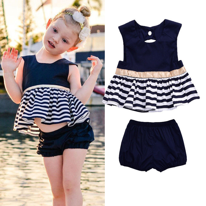 2pcs Newborn Kids Baby Girls Summer Outfit Navy Blue Dress Top+Pants baby girl clothes baby girl clothes Clothes
