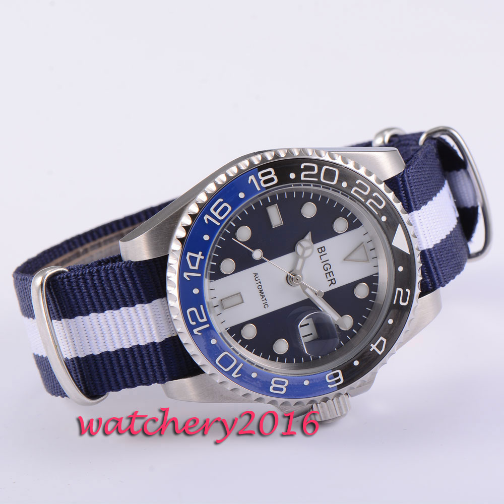 e75aa3e1 Newest 40mm Bliger blue & white dial ceramic bezel auto date nylon strap  Sapphire glass automatic