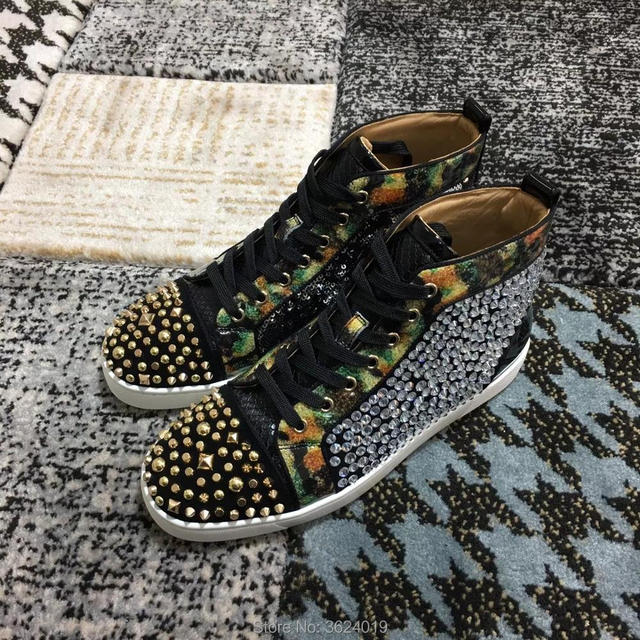 75527fe28da8 Low-Cut cl andgz Leopard Print Sequin Blingbling Big diamond Rhinestone Red  Bottom Shoes Sneakers Leather Loafers Flat 2018