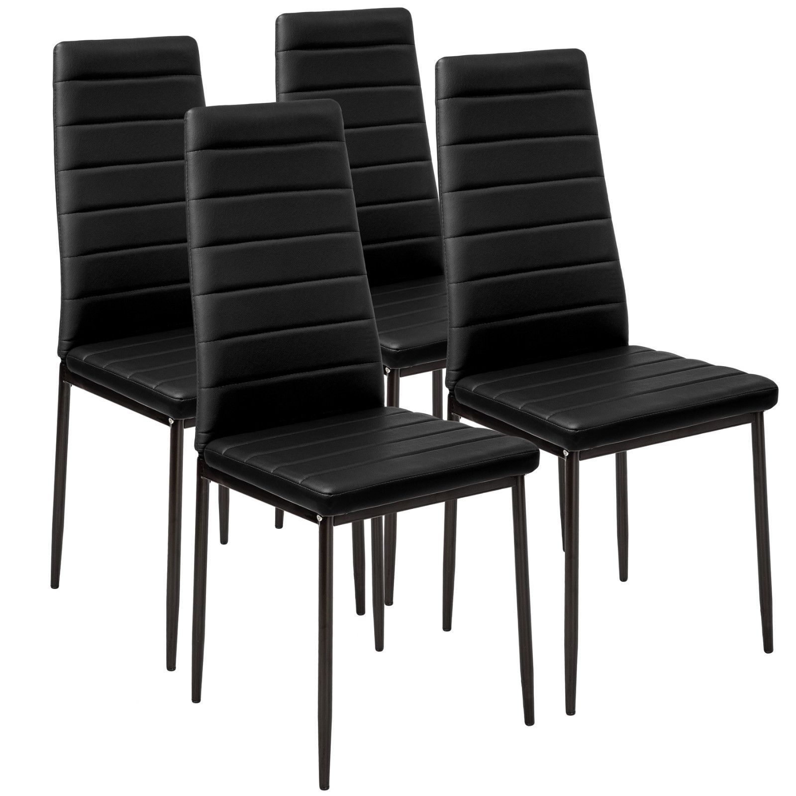 Panana 4 X Faux Leather High Back /white Dining Chairs Set Black Metal Leg Padded Seat Kitchen 6pcs Black Are Not Available