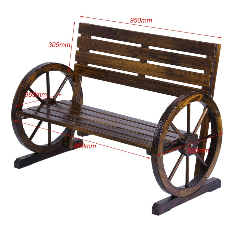 Patio Garden Park Wooden Wagon Wheel Bench Rustic Wood Design Outdoor Furniture For Home Decoration In Chairs From On