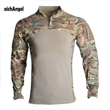 Tactical Combat Shirt Men Cotton Military Uniform Camouflage T Shirt Man Long Sleeve Airsoft Army T-shirts Male Tops Paintball emerson combat shirt military army airsoft tactical long sleeves clothing hunting paintball camouflage shirts clothes acu em8461