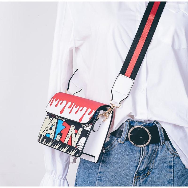 Coofit 2018 Neue Klappe Schutztasche Womens Printed Graffiti Crossbody Mini Tasche Frauen Messenger Bags Für Frauen Kupplung Bolsos Mujer Sac