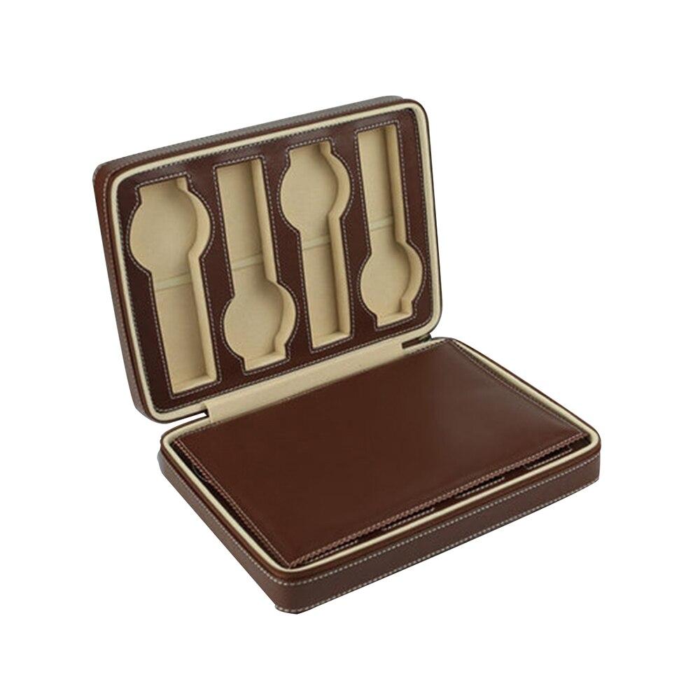 Boîte de montre de voyage de 8 grilles durables d'organisateur de mallette de rangement de montres en cuir d'unité centrale