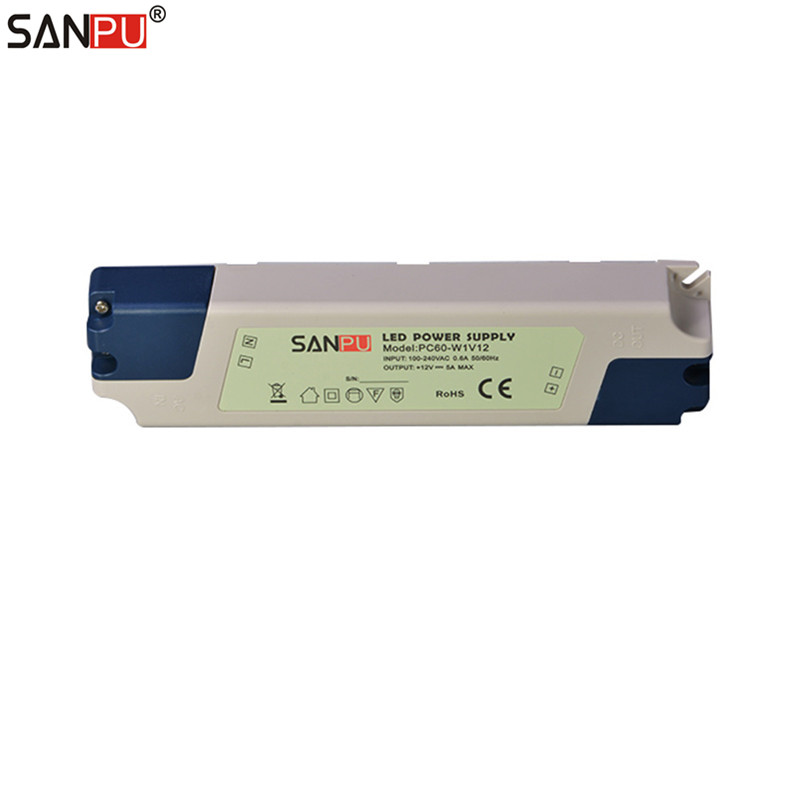 SANPU SMPS LED Driver Power Supply 12V DC 60W 5A Plastic IP44 Indoor Use Constant Voltage AC-DC Transformer for LED Tapes 48W