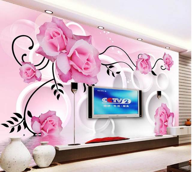 Online Shop Pink rose wallpaper flower 3d 3d wall murals wallpaper ...