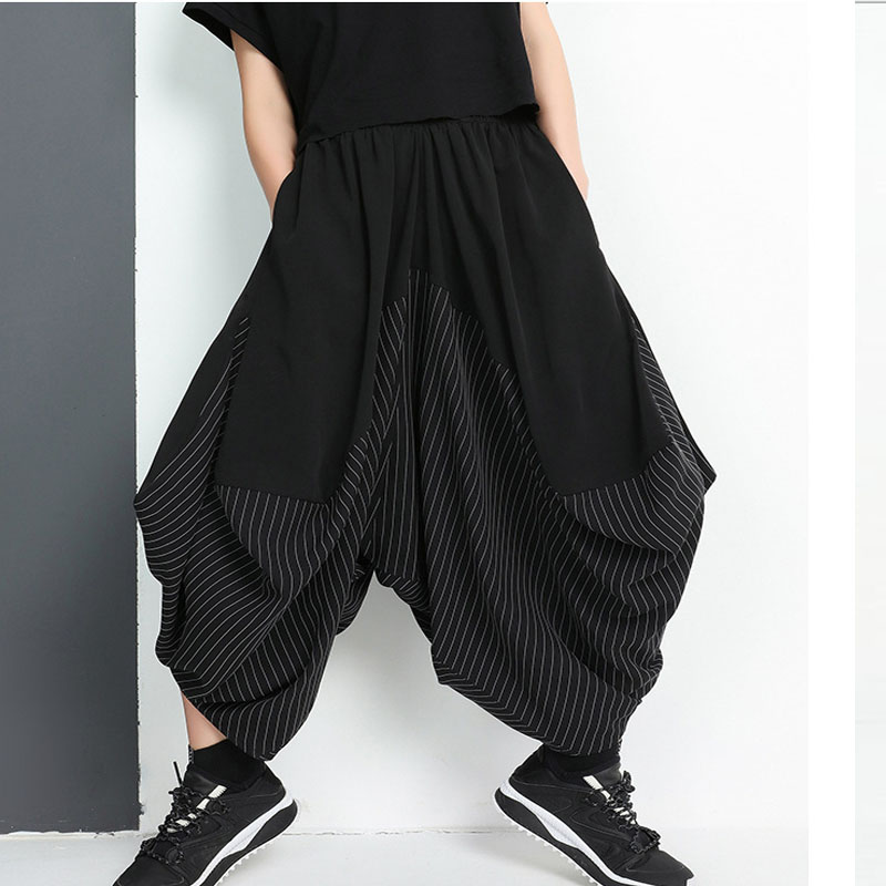 Plus Size Women Unbalance Stripe Patchwork Baggy Harem   Wide     Leg     Pants   Pantskirt Bloomers Culottes   Pants   Femael pantalon Trousers