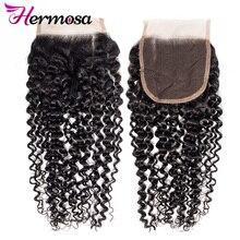 Closure Hermosa Hair Kinky Hair-Wave Curly Free-Part Natural Brazilian 4x4 130%Density