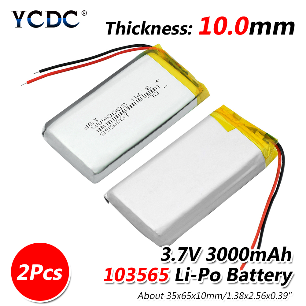 Size 103565 3.7v 3000mAh li-ion Lipo cells Lithium Li-Po Polymer Rechargeable Battery For interphone Mobile devices Bluetooth 3 7v 12000mah 1640138 combination rechargeable lipo polymer lithium li ion battery for power bank tablet pc laptop pad pcm board
