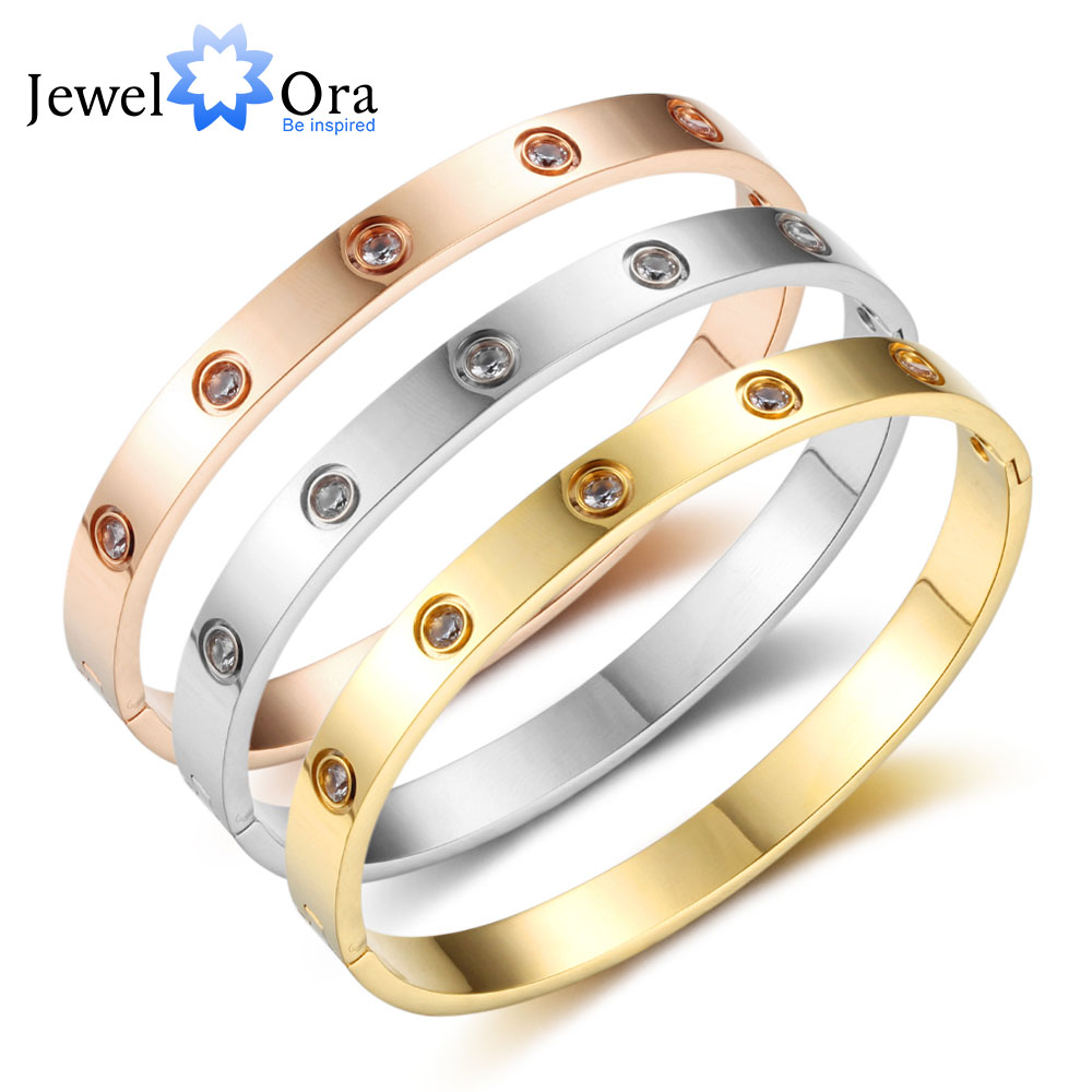 New Women Stainless Steel Bracelet Bangles Gold Silver Rose gold Colour Simple Design Bangle Jewelry Gift JewelOra BA101757
